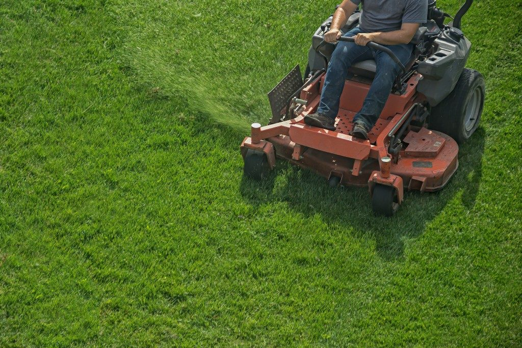 mowing grass